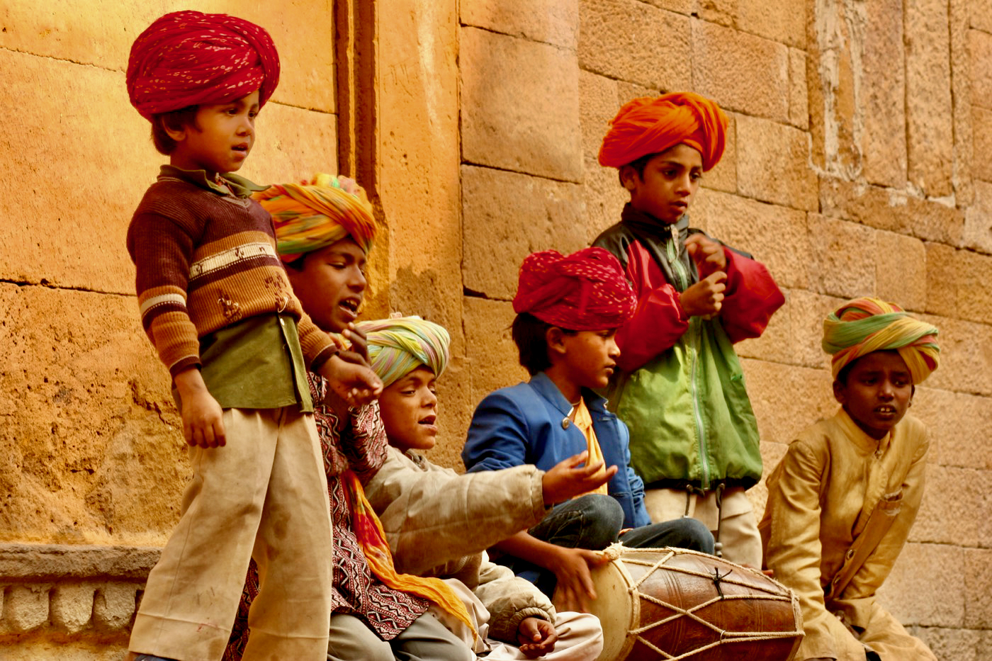 Indian Street Children in Turbans Jaisalmer Fort India Rajasthan